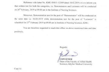 Screening test and demonstration for the post of demonstrator and lecturer Nursing1550730552.jpg